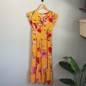 Old Navy yellow mustard floral midi ruffle dress